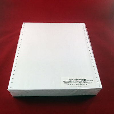 500 Sheets Office Impressions Continuous Feed Computer Paper