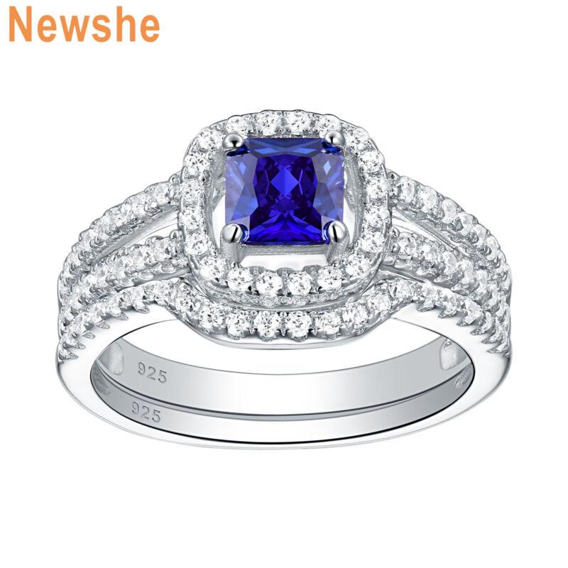 Newshe Wedding Engagement Ring Set Emerald Blue Tanzanite 925 Sterling Silver Cz