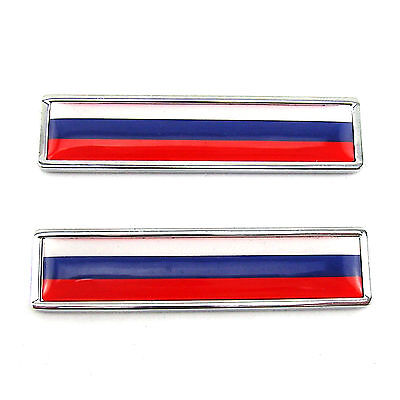 2 Pcs Russian Flag of Russia Emblem Stainle Metal Sticker For Harley Gas Tank