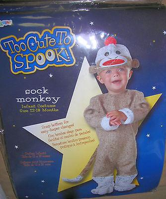 Sock Monkey  too cute  to spook   Halloween costume dress up   12 to 18 MO   new (Halloween Costumes Sock Monkey)