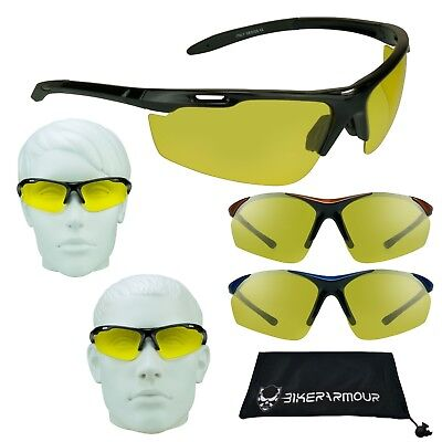 POLARIZED Yellow Lens Glasses Night Vision Motorcycle Computer Driving -