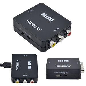 HDMI to Scart AV Red White & Yellow Composite Converter USB Powered For PC TV DV