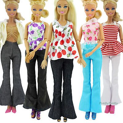 10pcs=5 Blouse & 5 Trousers Pants Casual Fashion Clothes Outfits For 12 in. Doll