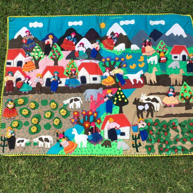"""LARGE Peruvian Hand Made ARPILLERA Folk Art Wall Tapestry 30""""x40"""" Garden Mountai"""