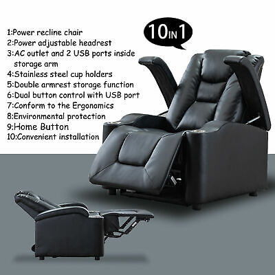 Power Leather Recliner Chair Two Motors Theater Seating w/ Adjustable Headrest