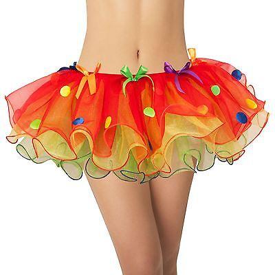 Erwachsene S Damen Rote Clown Tutu Tanz Leuchtend Hofnarr Punkte Kostüm Zubehör