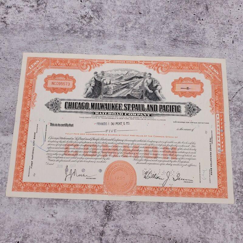 1969 Milwaukee Chicago Pacific 5 Share Railroad Stock Bond Certificate #NC095573