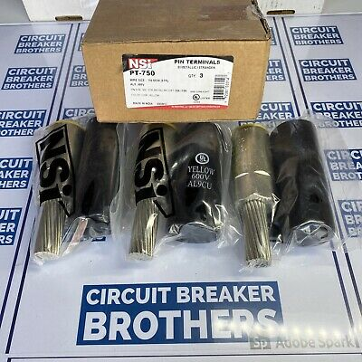 3 Lot Nsi Pt-750 Wire Connector Adapter 750 Mcm Pin Terminal New In Box