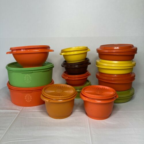 Vintage Tupperware Lot of 13 Harvest Seal And Serve Bowls with Lids