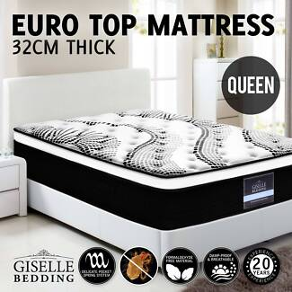 Queen Mattress Bed Size Euro Top 5 Zone Pocket Spring High Resili