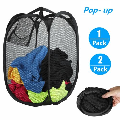 Large Foldable Portable Laundry Basket Mesh Hamper Washing Clothes Storage Bin Home & Garden