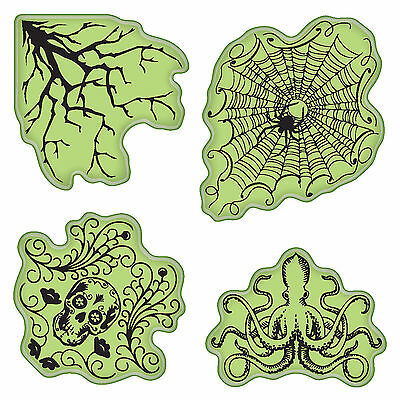 Halloween Stamping Gear Unmounted Cling Rubber Stamp Set Inkadinkado - Inkadinkado Halloween Stamps