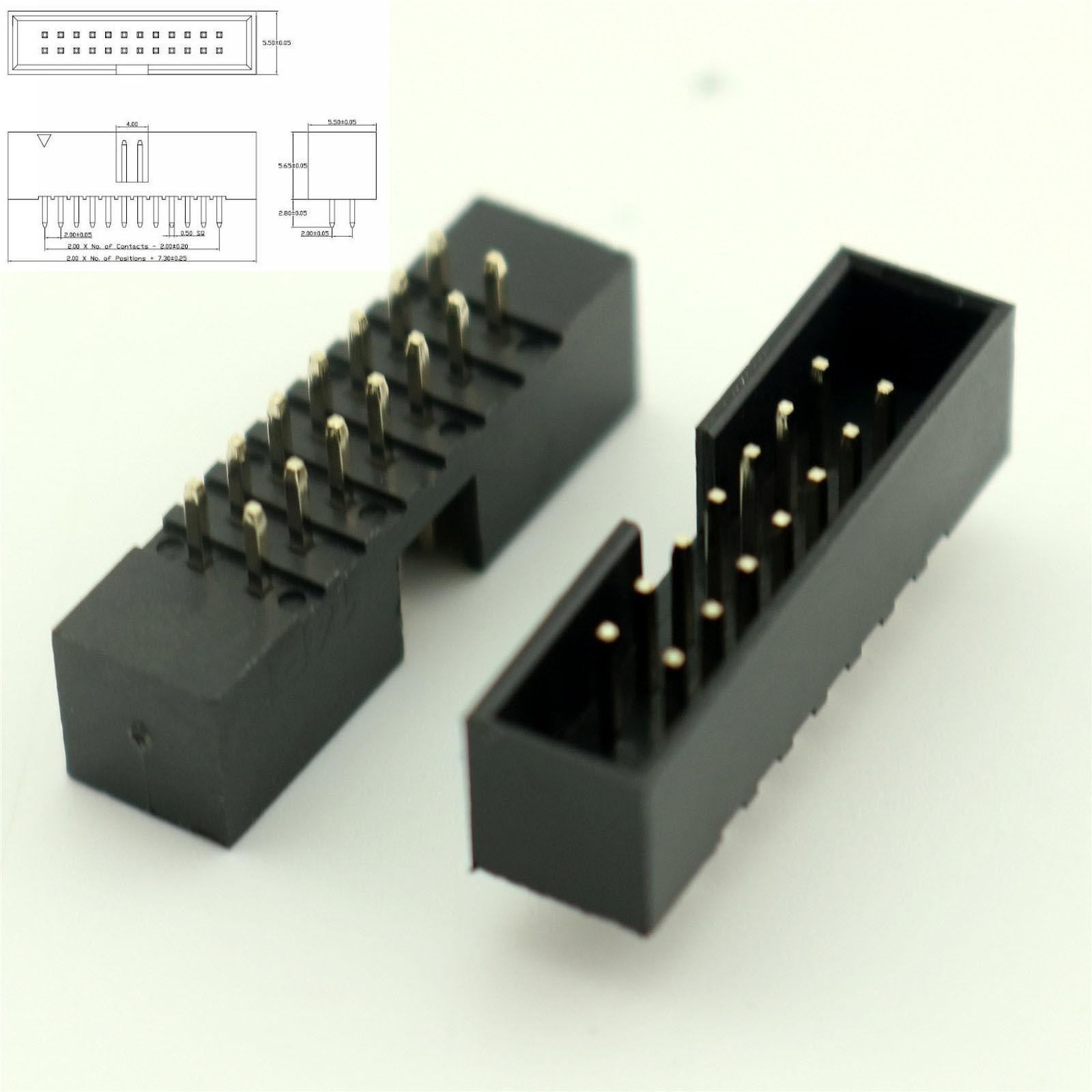 25 pcs 10 PIN 2 x 5 MALE PCB HEADERS
