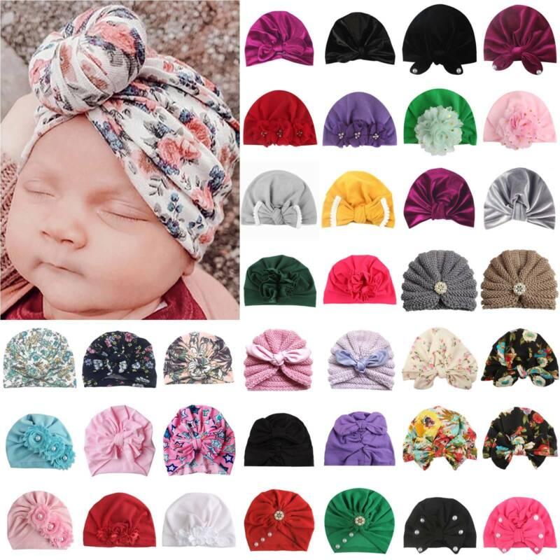 newborn baby headbands turban hat bow kids
