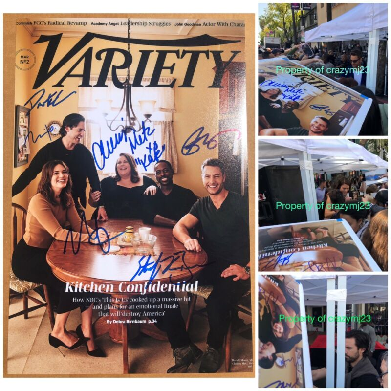 6 Cast SIgned This Is Us Mandy Moore Milo Justin Hartley Chrissy Autograph PROOF