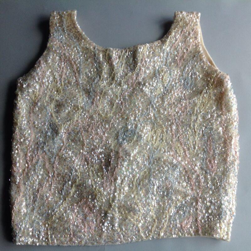 Vtg Wool Beaded Sequin Shell Vest Sweater L/XL Cream~Pink~Blue