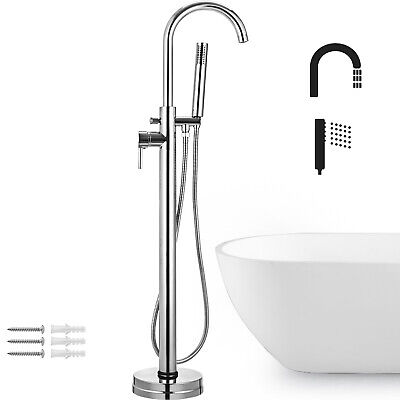 Floor Mounted Bathtub Faucet Free Standing Tap Tub Filler With Hand Shower -