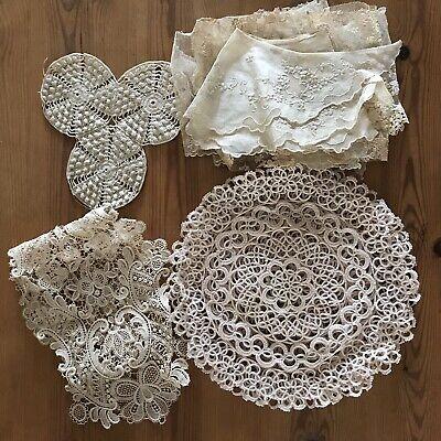Antique Silk Lace Doilies Collar Job Lot