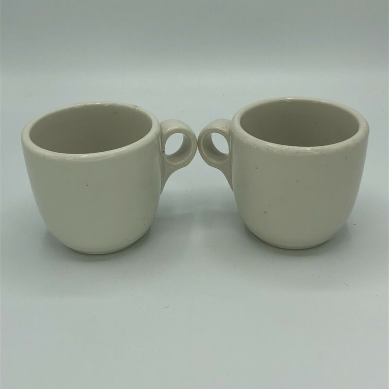 Two Vintage McNicol China Restaurant Ware White Coffee Mugs Cups USA 8 oz