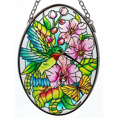 "Hummingbird In Orchids Suncatcher Hand Painted Glass AMIA Studios 4.5"" x 3.25"""