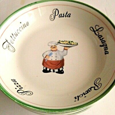 Pasta Serving Ceramic Bowl w/5 Matching Ceramic Bowls Chef Pasta Types UNBRANDED