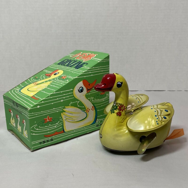 Vintage Mechanical Gosling Swan Tin Wind-Up Toy Animal Figure w/Key