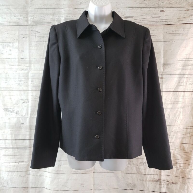 Pendleton Womens Blazer Jacket Sz 12 Black Wool Button Front