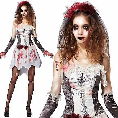 Blanco Mujer Nuevo Gótico Esqueleto Novia Zombie Disfraz Adulto