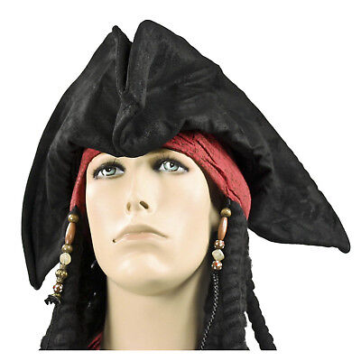Adult Men's Captain Hook Jack Sparrow Tri-Corn Black Cosplay Costume Pirate Hat (Captain Hook Adult)