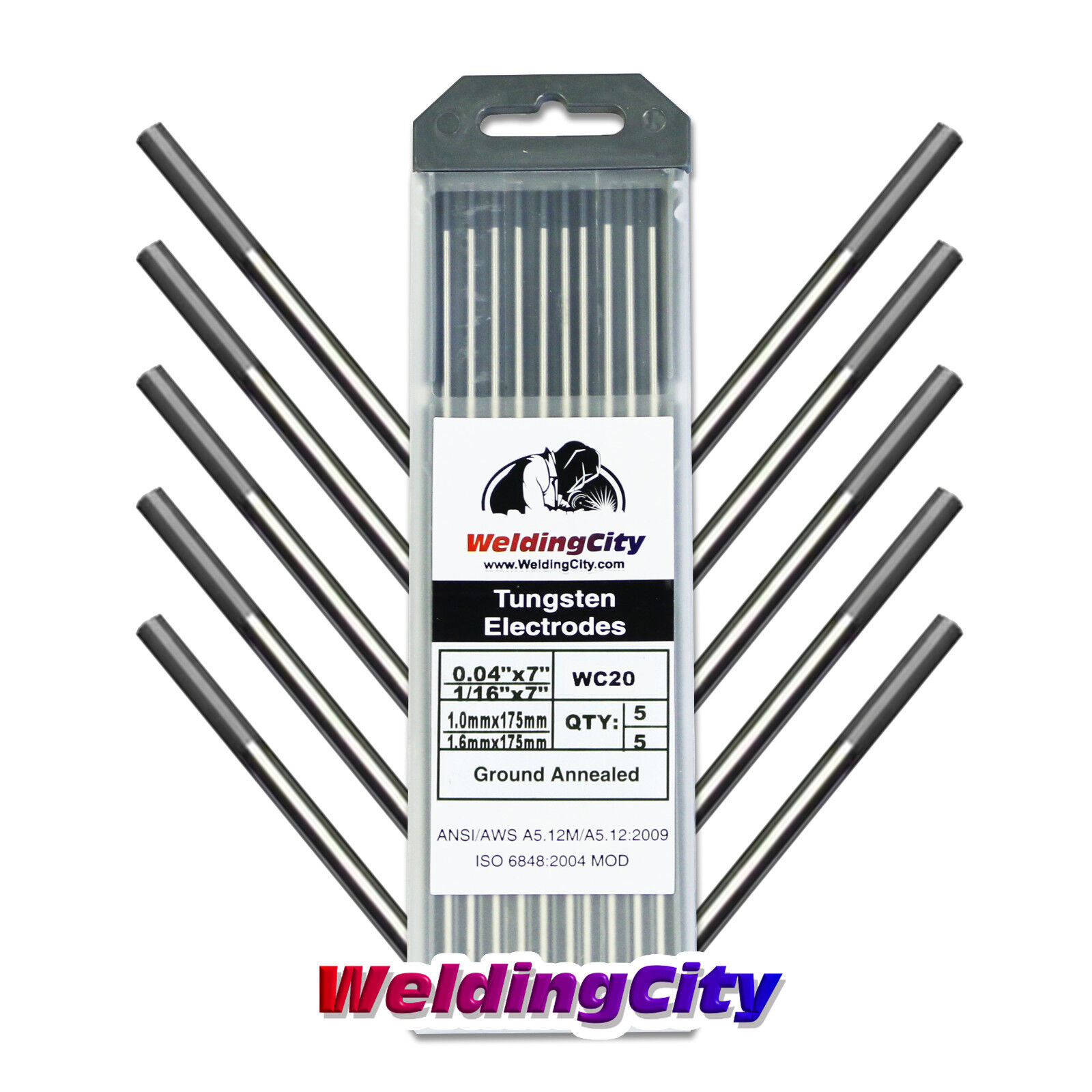 """2/% Ceriated WC20 Grey Tungsten Electrode Assorted Size .040/""""-1//16-3//32-1//8/"""",10PK"""