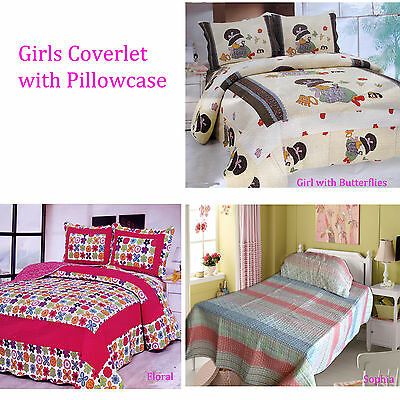 2 Pce Girls Quilted Coverlet Bedspread + Std pillowcases - S