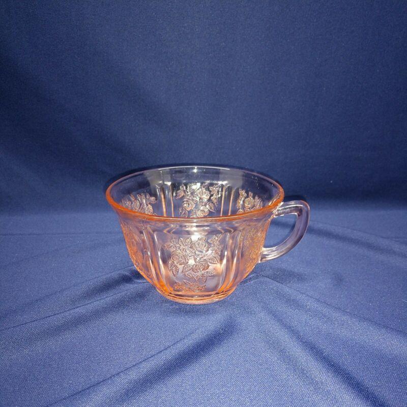 Vintage Pink Sharon Cabbage Rose Federal Depression Glass Tea Cup