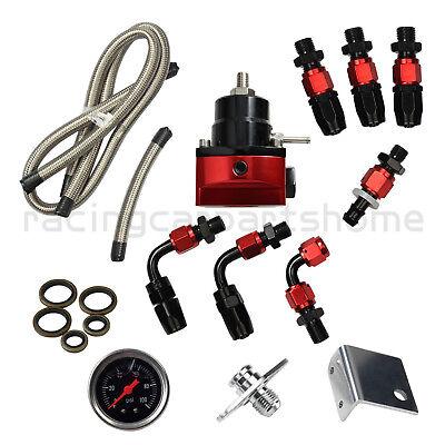 Black-Red  Adjustable Fuel Pressure Regulator Kit Oil 0-100psi Gauge -6AN