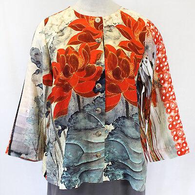 - NEW Citron Clothing Plus Red Far East Garden Silk Blend Blouse Jacket Top 2X