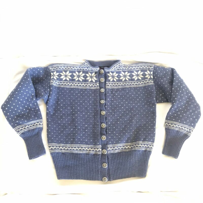 Danspun Snowflake Sweater Child Pure Wool Handmade Cardigan Nordic Ski M/L