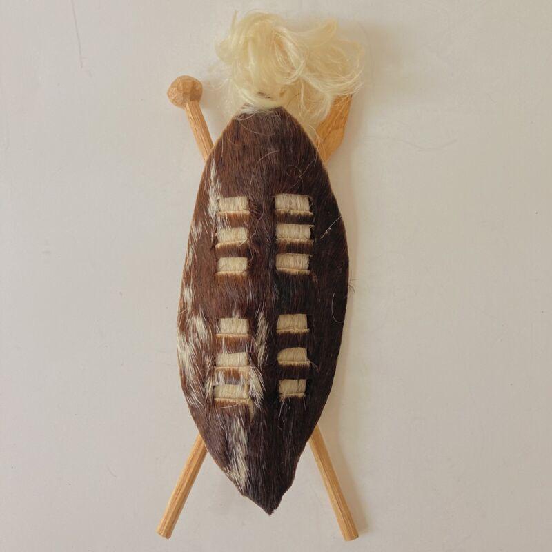 Vtg Hand Crafted Mini Zulu Shield South Africa Tourist Gift 1980s Art Assegai E