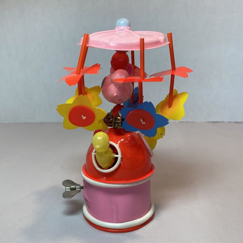 Vintage Celluloid Wind Up Mechanical Easter Chicks on Carousel Toy Easter