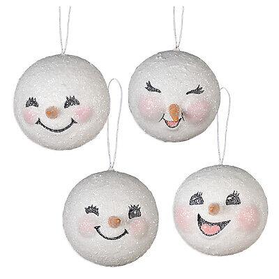 Set/4 Bethany Lowe Happy Snowman Snow Ball Retro Vntg Christmas Ornaments Decor