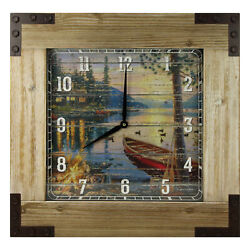 River's Edge Products Large Wall Clock Wood 24in Square Frame Rustic Lake Cabin