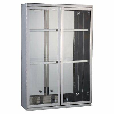 Wall-Mount Stainless Steel Cabinet Display Glass Doors Modern 3 Shelves Bathroom