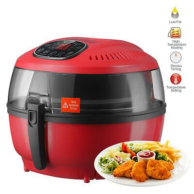 Electric Digital Air Fryer Oil-less Griller Roaster Calorie Reducer 7.4qt Red