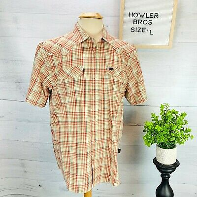 Howler Bros Mens Short Sleeve Vented Snap Shirt Red Blue Cream Plaid Size L