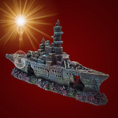 Aquarium Deko ❤️ SCHIFFSWRACK ❤️ Kriegsschiff Terrarium Dekoration Zubehör ()