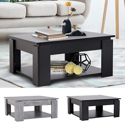 2 Tier Modern Coffee Table Accent Console End Table Living Room Bottom Shelf