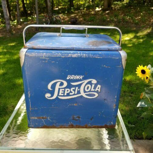 Vintage blue white Pepsi Cola 1950s cooler