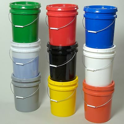 5 Gallon Plastic Pail With Lid- 9 Color Options- Made In The Usa- Free Shipping