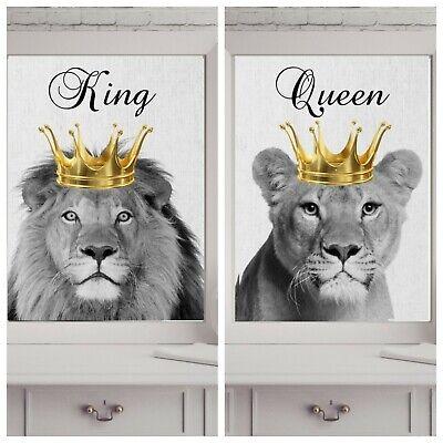 king queen lion lioness  print PICTURE WALL ART A4 crown  UNFRAMED 23 PORTRAIT