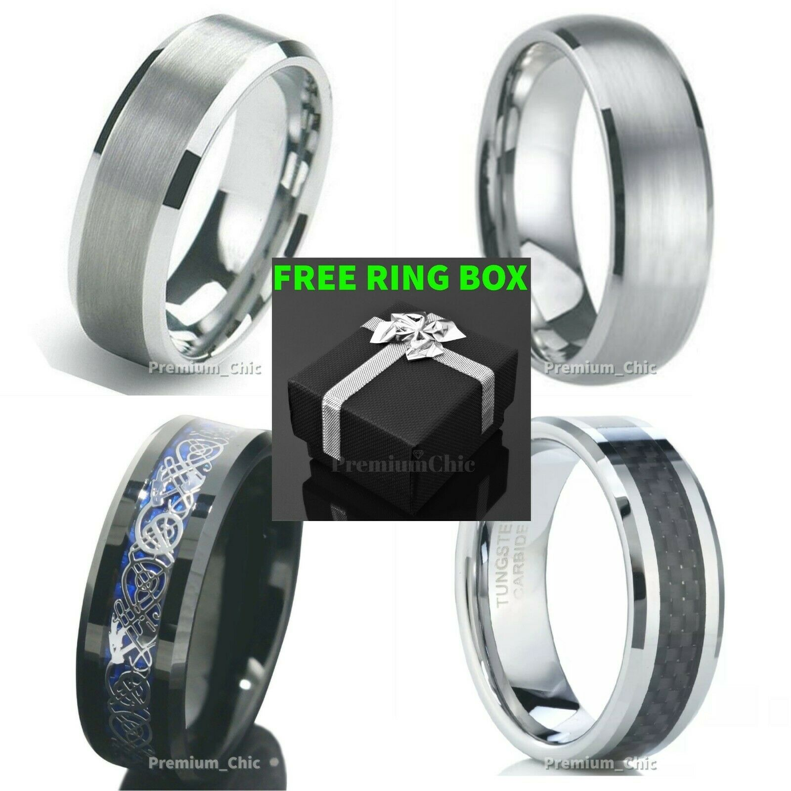 Tungsten Carbide Ring Mens Engagement Wedding Band Silver Bl