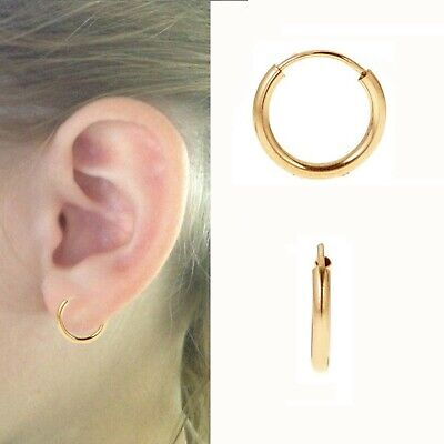 Yellow Gold Filled Endless Hoop Earrings 2mm x (15mm, 19mm, 27mm, 41mm, 55mm)