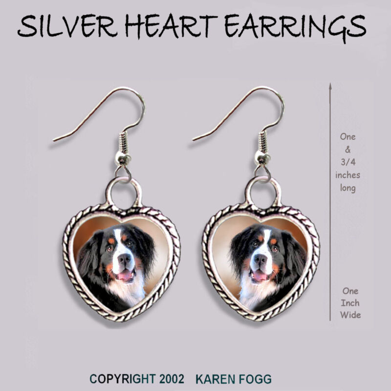 BERNESE MOUNTAIN DOG - HEART EARRINGS Ornate Tibetan Silver
